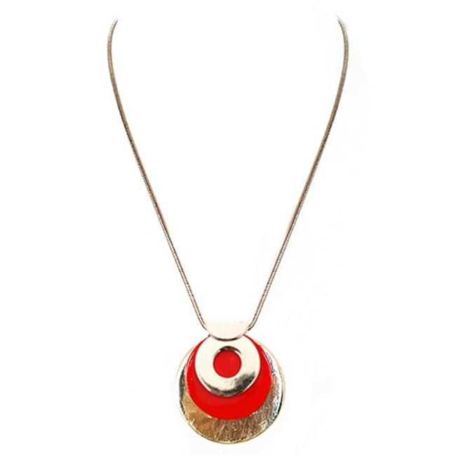 Eshopo 0805470397953 Red And Gold Round Medal Pendant Necklace