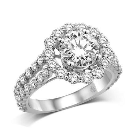 Semi Mount Ring (14K White Gold 1 5/8 Ct.tw Semi Mount Engagement Ring )