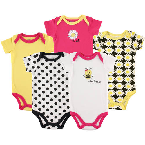 Luvable Friends Newborn Baby Girls Bodysuit 5-Pack Bee