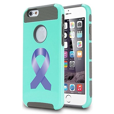 For Apple (iPhone 8) Shockproof Impact Hard Soft Case Cover Stomach Cancer Color Awareness Ribbon - Teal Ribbon Awareness