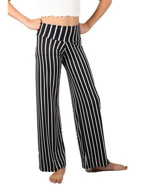 Lori & Jane Girls Black White Stripe Pattern Palazzo Wide Pants