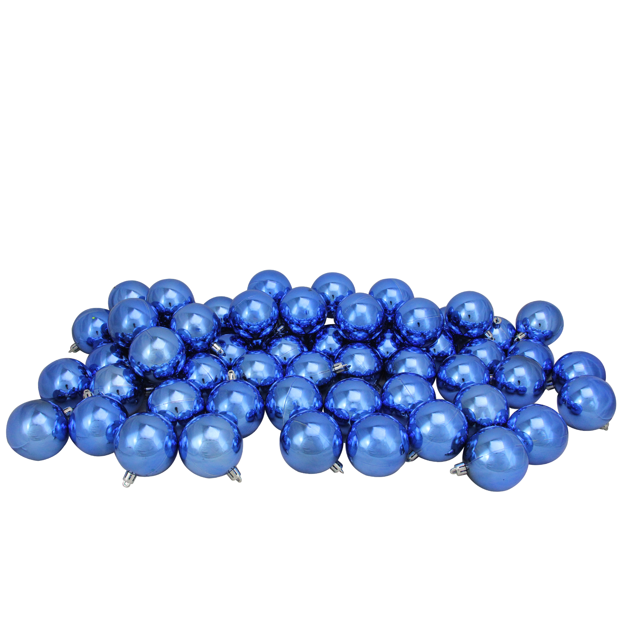 "60ct Lavish Blue Shatterproof Shiny Christmas Ball Ornaments 2.5"" (60mm)"