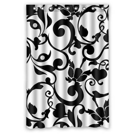 GCKG Black and White Damask Classic Vintage French Floral Swirls Waterproof Polyester Shower Curtain Bathroom Deco 48x72 inches](Black And White Damask)