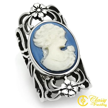 Porcelain Cameo Ring - Classy Not Trashy® Women's High Polished Stainless Steel Capri Blue Cameo Ring - Size 7