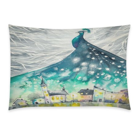 YKCG Home Bathroom Decor Snow Chirstmas Peacock Pillowcases Decorative Pillow Cover Case Shams Standard Size for Couch Bed-Turquoise Grey Color-20x30 Inch-Watercolor Peacock Winter Night Sky