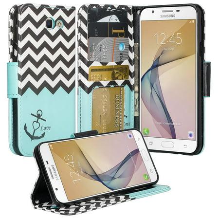 Samsung Galaxy J7 Prime, J7 Perx, Galaxy Halo, J7 Sky Pro, J7 2017 Case, Wrist Strap Pu Leather Magnetic Flip[Kickstand] Wallet Cover - Teal