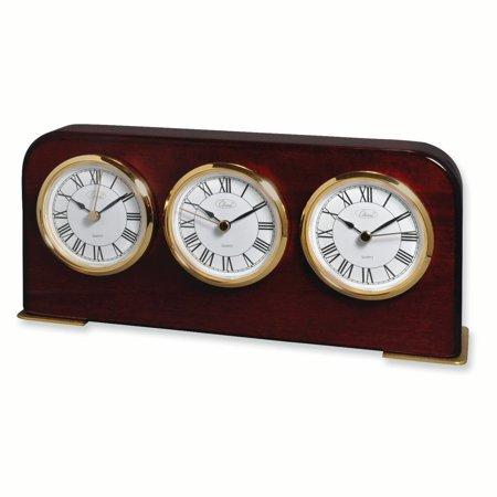 Mahogany Finish Three Time Zone Clock Desk Office Gifts
