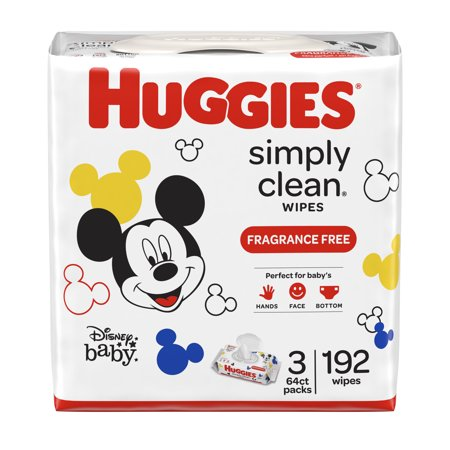 HUGGIES Simply Clean Baby Wipes, Fragrance Free, 3 packs of 64, 192 Ct