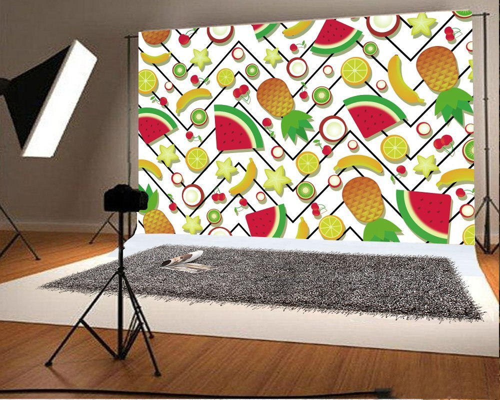 10x8ft Fruits Backdrop Photography Banana Apple Lemon Pattern Photo Props Backgrounds for Photography Kids Adults Party Events Decoration Wallpaper Photo Studio LLFU019