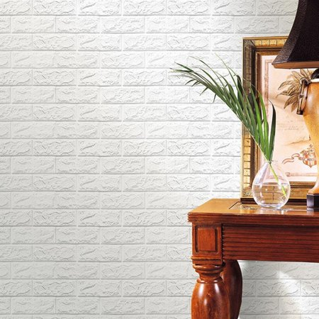 NK HOME Peel and Stick 3D Wall Stickers Panels White Brick Wallpaper Modern Wall Background for TV Walls Sofa Background Bedroom Living Room Décor (Room Background)