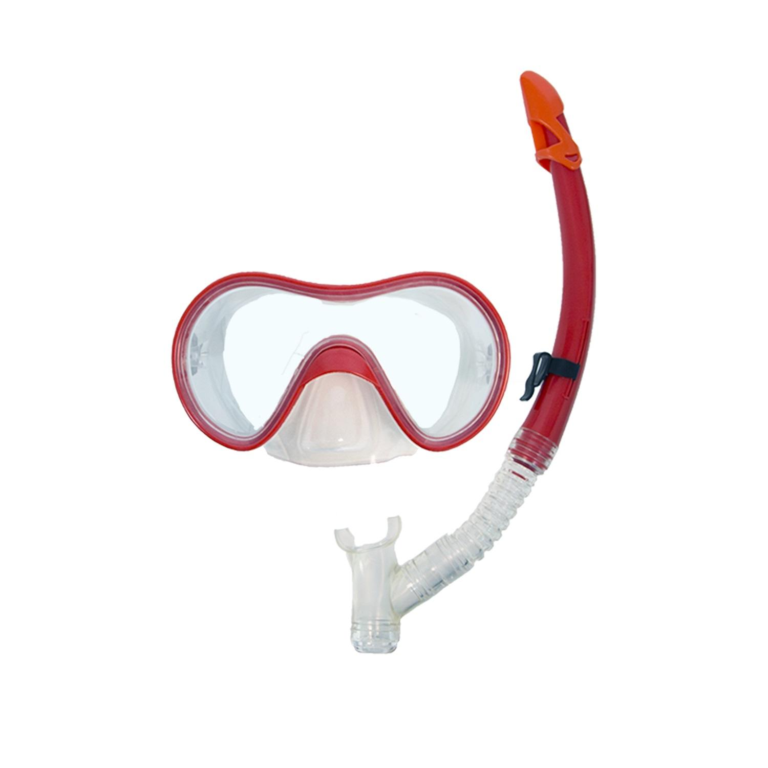 Bright Red Expedition Swimming Mask and Dry Snorkel Set for Teens Adults by Swim Way