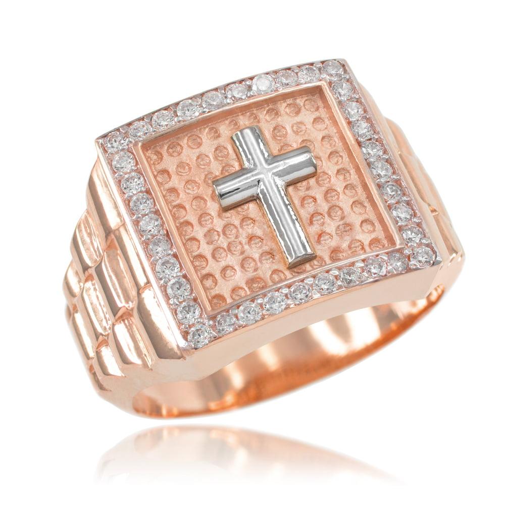 Rose Gold Watchband Design Men's Cross Cubic Zirconia Ring by