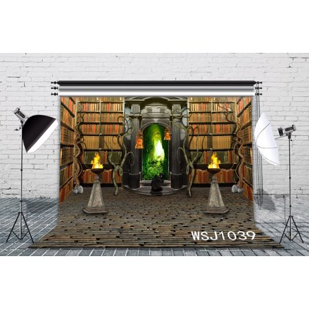 GreenDecor Polyster 7x5ft The Study of Halloween Decoration Photography Backdrop Background Photo Background Studio Prop (The Background Of Halloween)