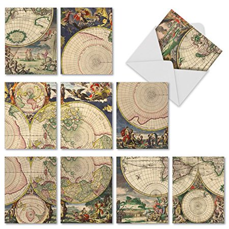 'M2341TYG TOPOGRAPHICS' 10 Assorted Thank You Notecards Featuring Vintage Collage Images of Old World Globes and Frollicking Creatures with Envelopes by The Best Card Company (Old World Stationary)