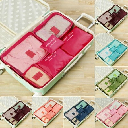 6PCS Travel Clothes Storage Bags Portable Waterproof Luggage Organizer Pouch Packing Cube Set (Coach Travel Organizer)