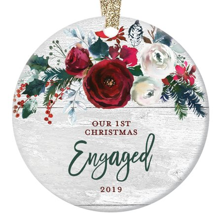 Modern Farmhouse Engagement Ornament 2019, 1st Christmas Engaged, Gift for Couple Bride & Groom to Be Rustic Present Ceramic Present 3
