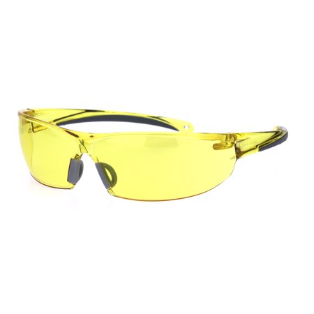 ANSI Z87.1 Warp Around Mens Shatterproof Safety Glasses U6 S Yellow (Glass Vs Plastic Lenses)