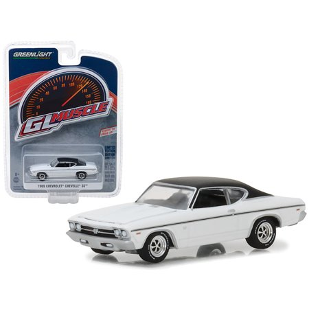 Chevrolet Chevelle Carpet - 1969 Chevrolet Chevelle SS White with Black Top Greenlight Muscle Series 20 1/64 Diecast Model Car by Greenlight