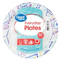 "Great Value Everyday Paper Plates, 8 3/8"", 50 Count"
