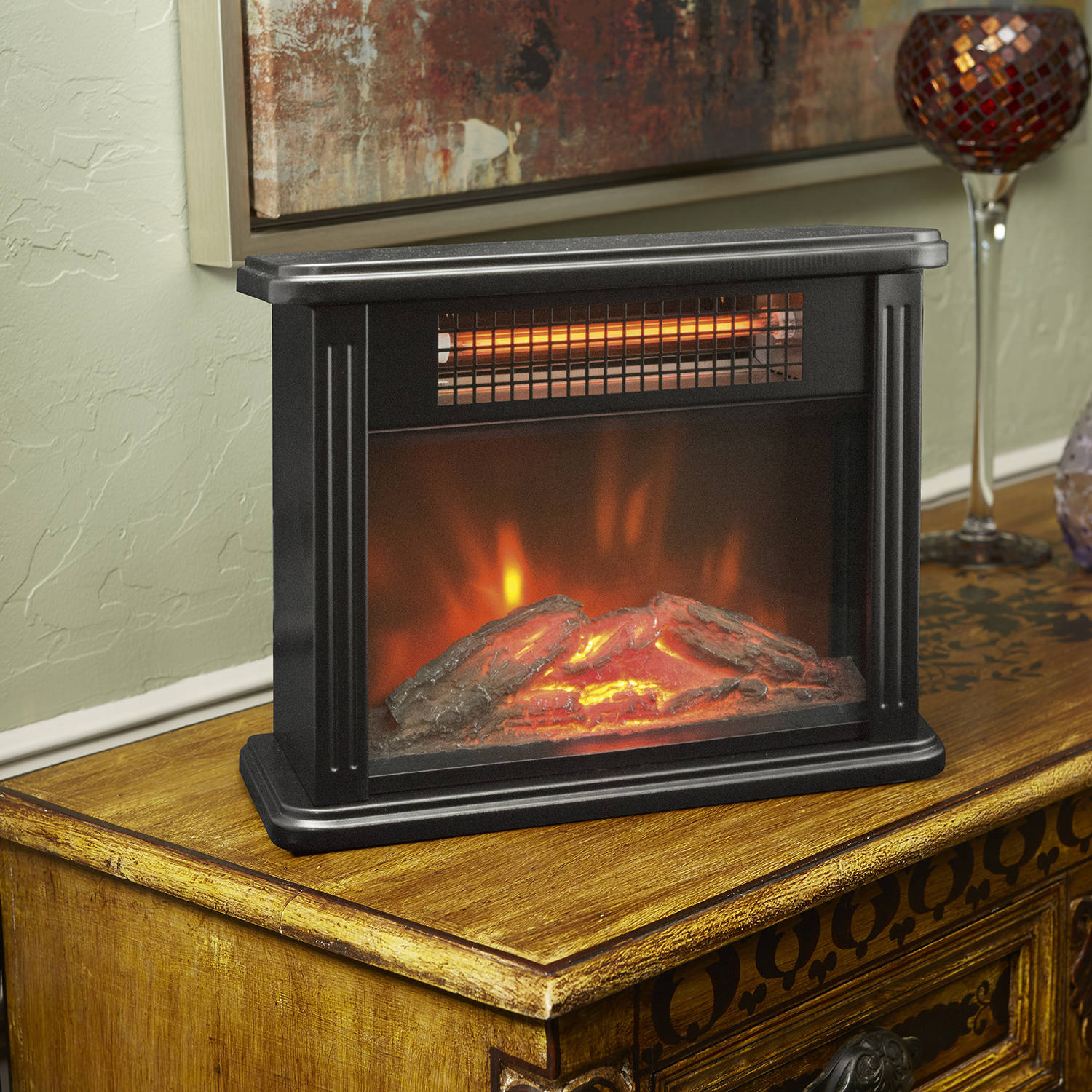 Lifesource Tabletop Infrared Heater with Flame Effect - Walmart.com