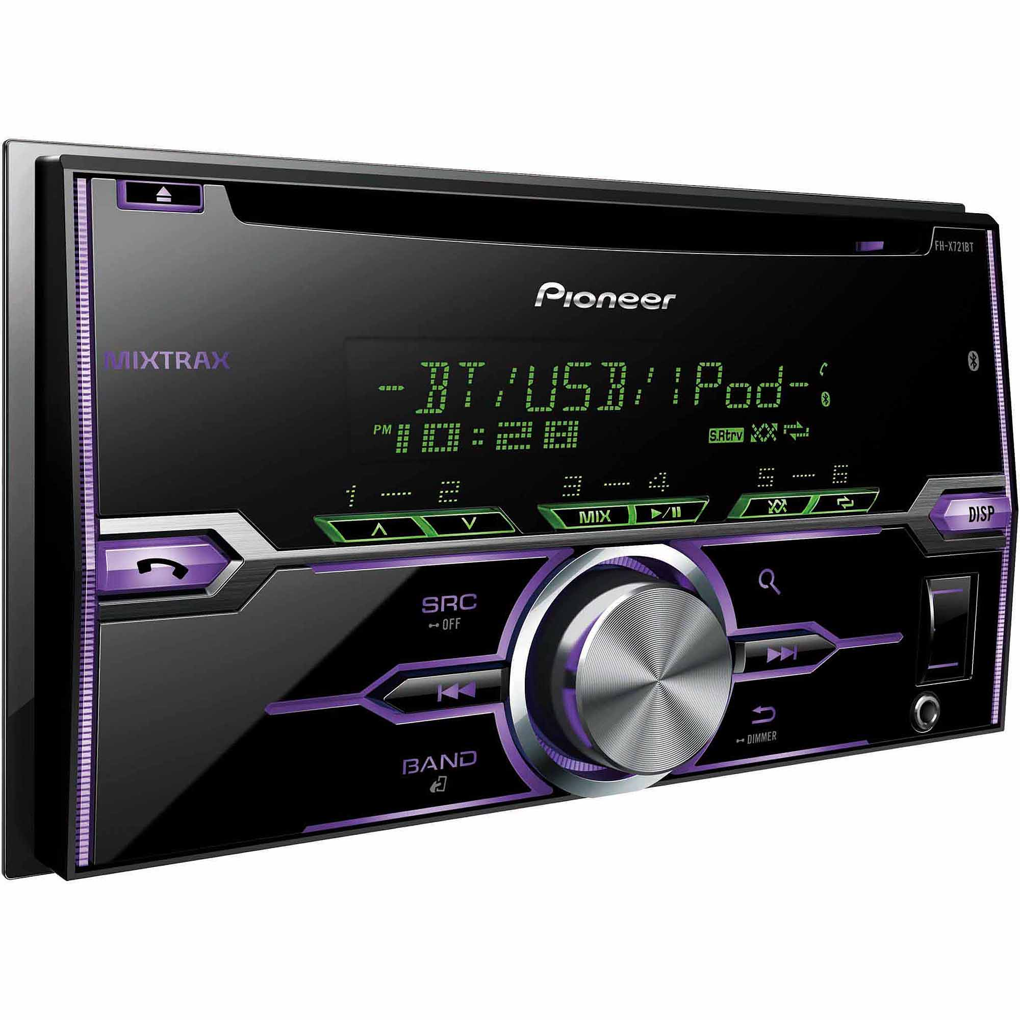 pioneer fh x721bt double din single cd receiver with built in rh walmart com