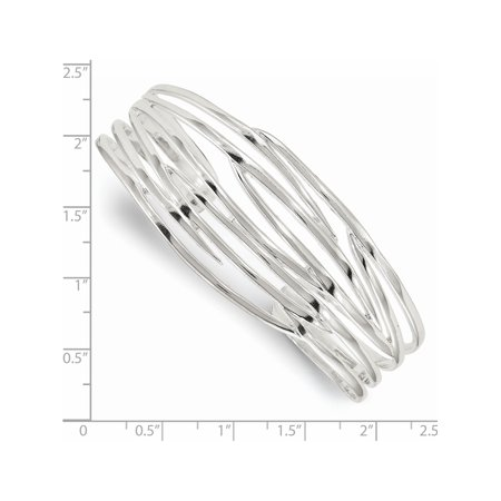 925 Sterling Silver Polished Cuff Bangle - image 1 of 2