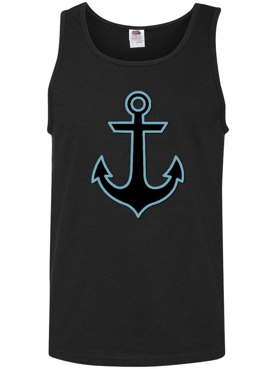 Blue Black Men/'s Tank Top Boat Nautical Nautic Naval Inktastic Ship Anchor