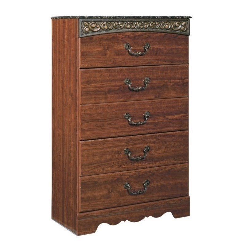 Kingfisher Lane 5 Drawer Wood Chest in Brown