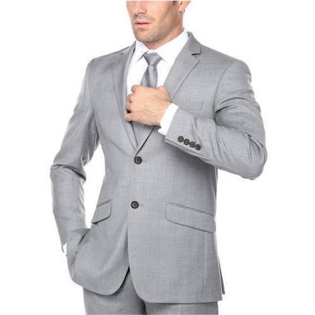 Men's Grey Classic Fit Italian Styled Three Piece Suit