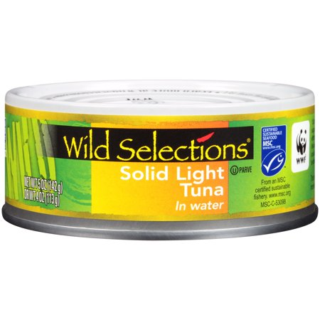 WILD SELECTIONS Solid Light Tuna Fish in Water, 5 Ounce Can, Wild Caught Tuna, High Protein Food and