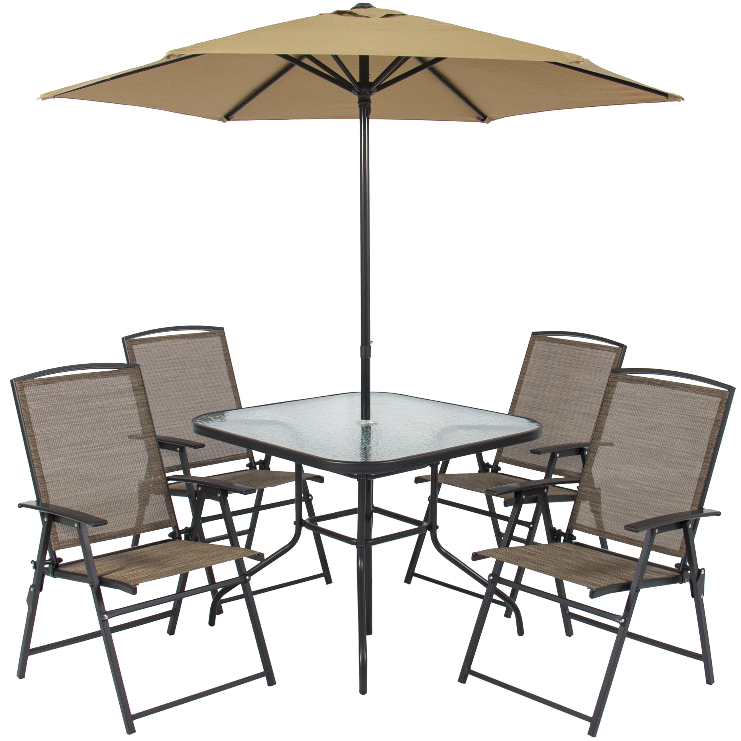Best Choice Products 6-Piece Outdoor Folding Patio Dining Set w/ Table, 4 Chairs, Umbrella, and Built-In Base -Tan