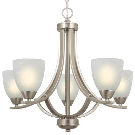 "Kira Home Weston 24"" Contemporary 5-Light Large Chandelier + Alabaster Glass Shades, Adjustable Chain, Brushed Nickel"