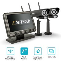 """Defender PhoenixM2 Digital Wireless 7"""" Monitor DVR Security System with 2 Long-Range Night Vision Cameras and SD Card Recording"""