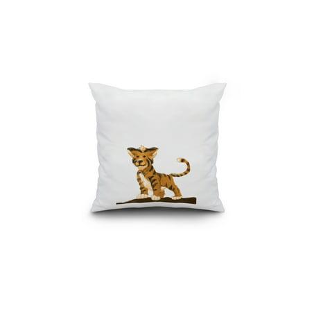 Baby Tiger Lantern Press Artwork 16x16 Spun Polyester Pillow Custom Bo