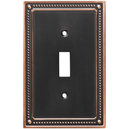 Franklin Brass Classic Beaded Single Switch Wall Plate in Bronze with Copper (Safari Switchplate)