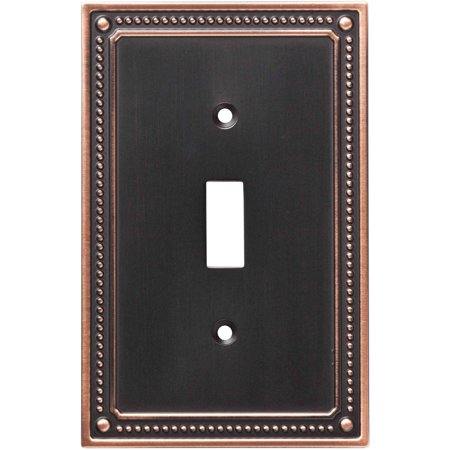 Franklin Brass Classic Beaded Single Switch Wall Plate in Bronze with Copper Highlights