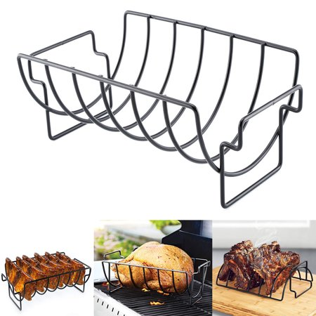 Image of NEW Rib Rack Stand Non Stick Outdoor Grilling BBQ Chicken Beef Ribs Steel