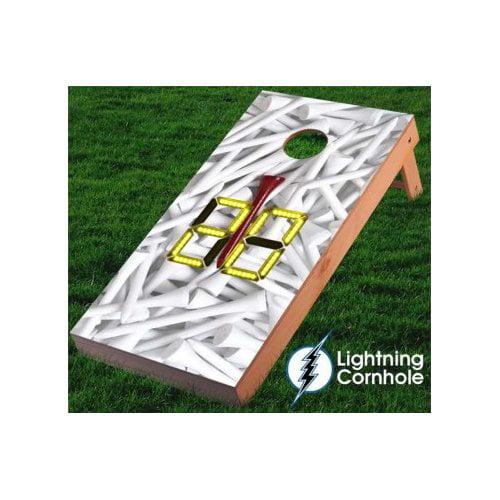 Lightning Cornhole Electronic Scoring Golf Tees Cornhole Board by