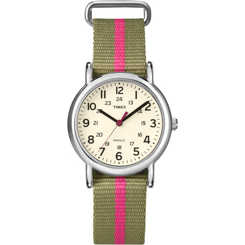 Timex Women's T2N917 Weekender Watch with Olive Green and Red Nylon Strap