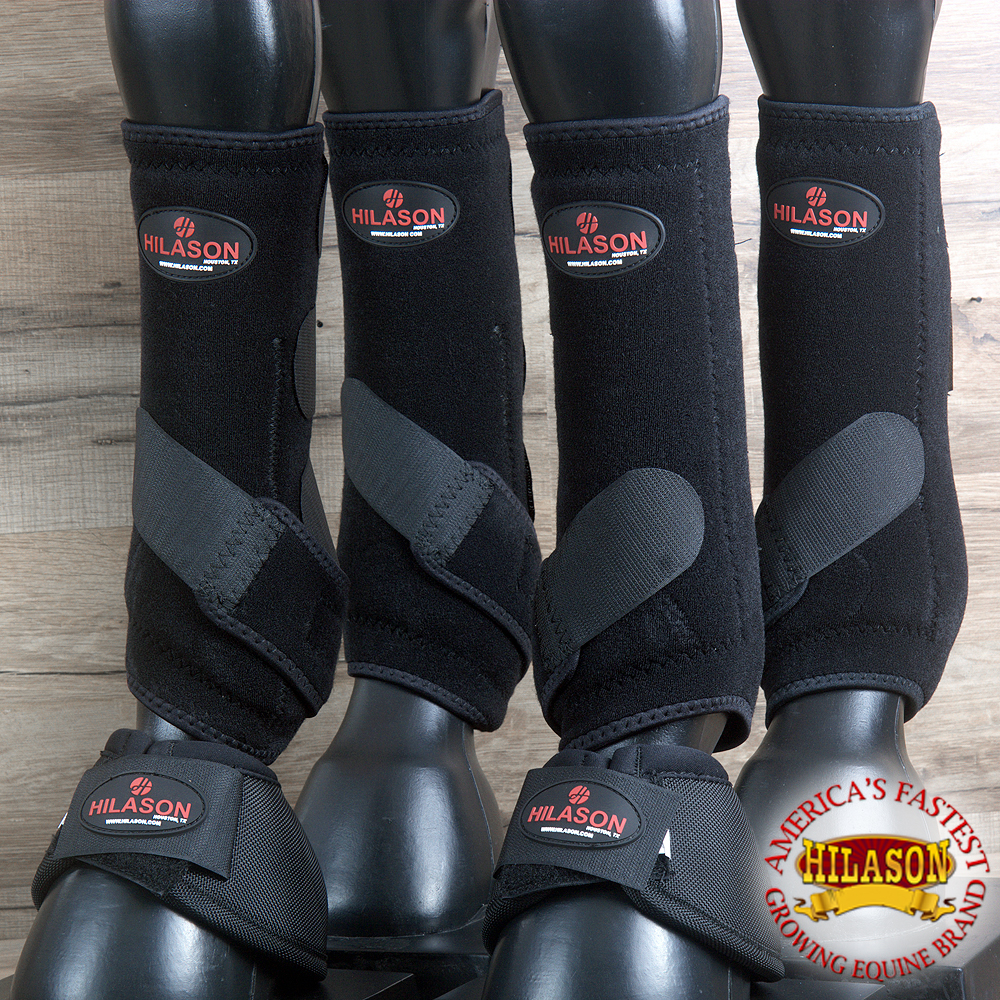 4+2 PACK L- HILASON HORSE MEDICINE SPORTS BELL BOOTS FRONT REAR HIND LEG BLACK by HILASON