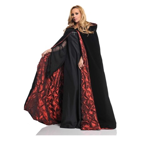 Velvet Cape with Ember Lining Deluxe Adult Halloween Accessory](Halloween Red Hooded Capes)