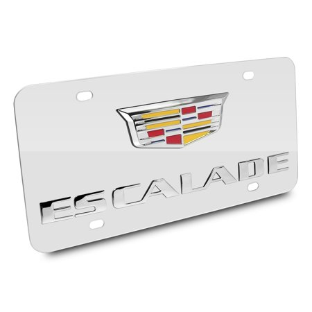 Cadillac Escalade Crest Double 3d Logo Chrome Stainless Steel License Plate