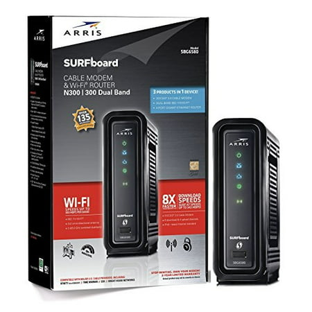 arris surfboard sbg6580 docsis 3.0 cable modem/ wi-fi n300 2.4ghz + n300 5ghz dual band router - retail packaging black
