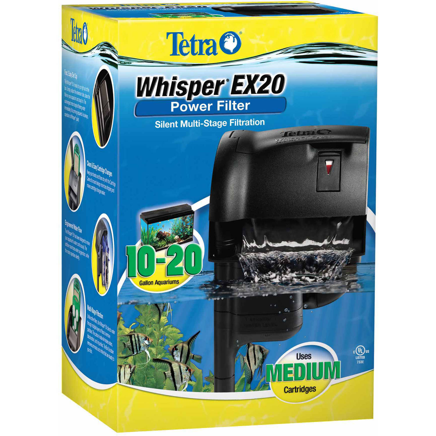 Tetra Second Nature Whisper EX Filter for Aquariums, 20-Gal