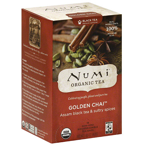 Numi Golden Chai Black Tea Bags, 18 count, (Pack of 6)