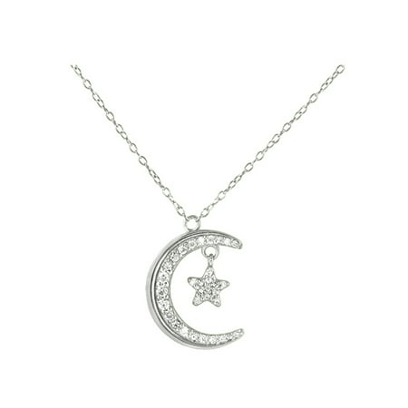 CZ Crescent Moon and Star Pendant Necklace in 925 Sterling Silver Goddess Star Necklace