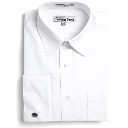 Gentlemens Collection Men's French Cuff Solid Dress Shirt (Cufflinks Included) Gentlemens Collection