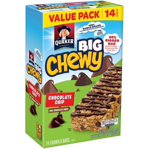 Quaker Big Chewy Chocolate Chip Granola Bars, 1.48 oz, 14 count