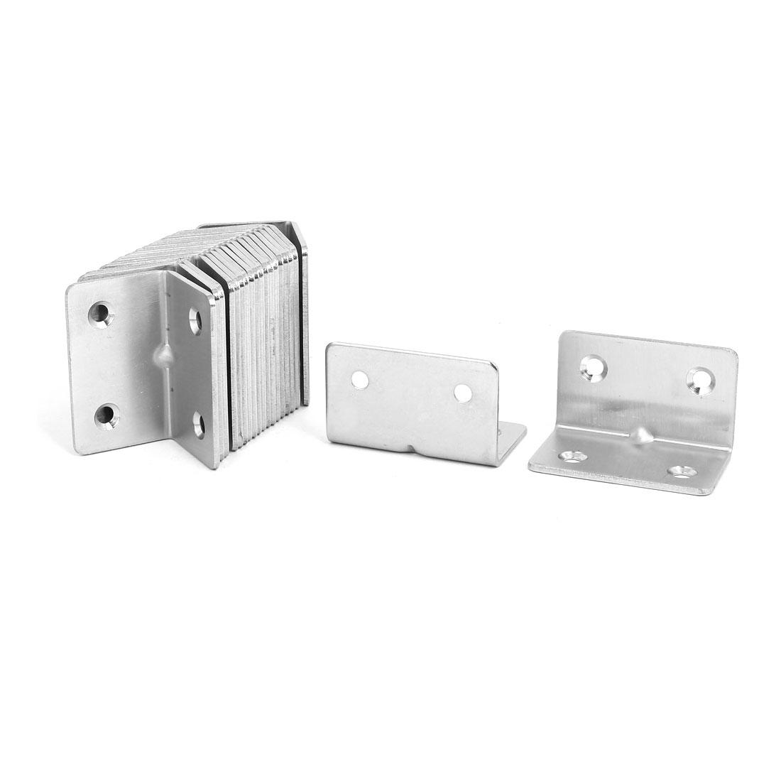 Unique Bargains31mmx31mmx50mm Stainless Steel Right Angle Bracket Corner Brace Fastener 20pcs
