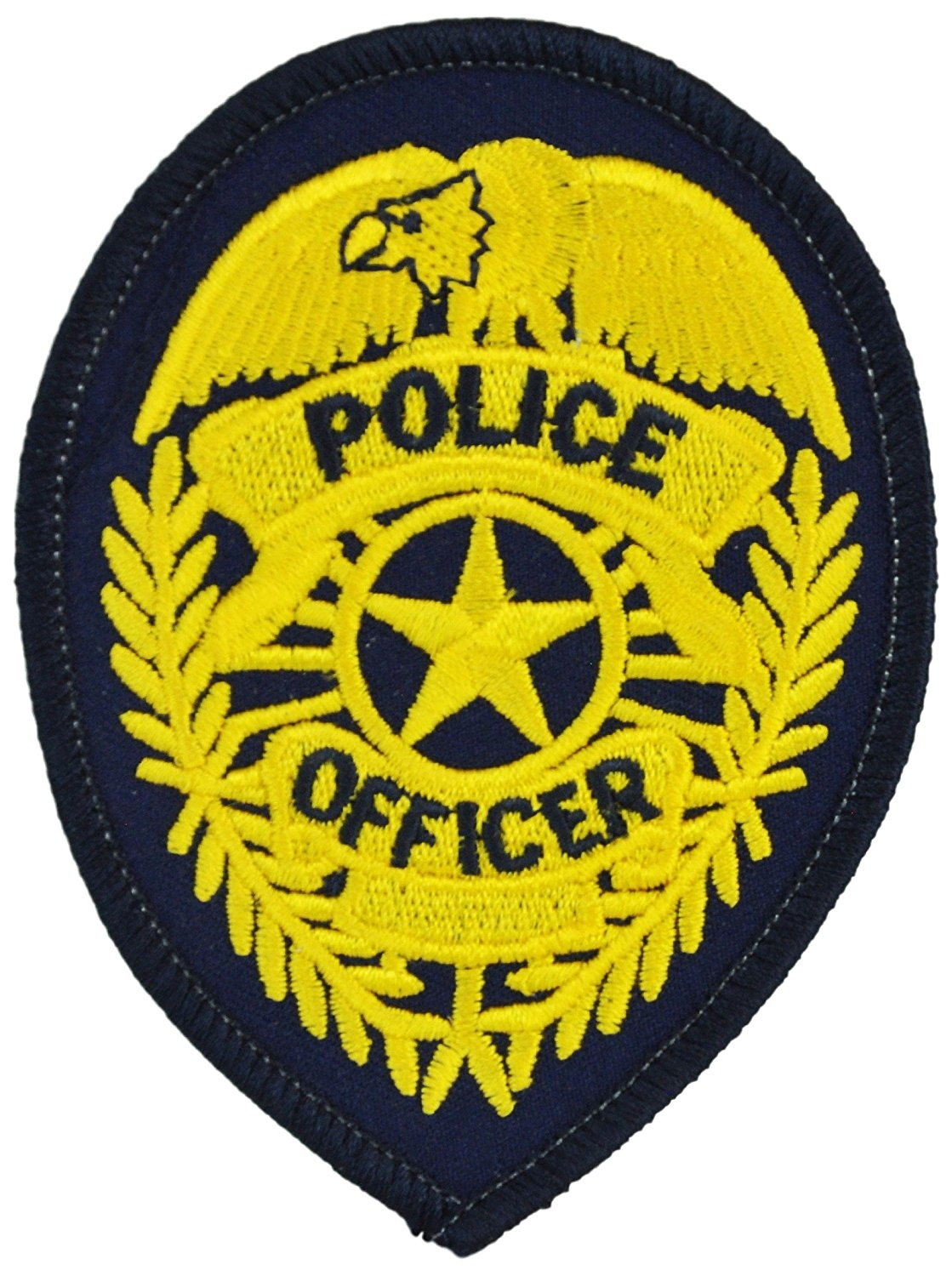 Tactical 365 Operation First Response Pair of Security Enforcement Officer's or Police Officer Badge Patches - Police Officer, Gold on Navy